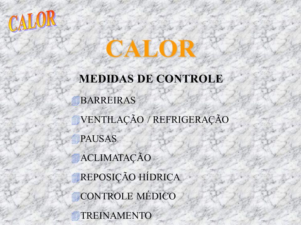 CALOR CALOR MEDIDAS DE CONTROLE BARREIRAS VENTILAÇÃO / REFRIGERAÇÃO