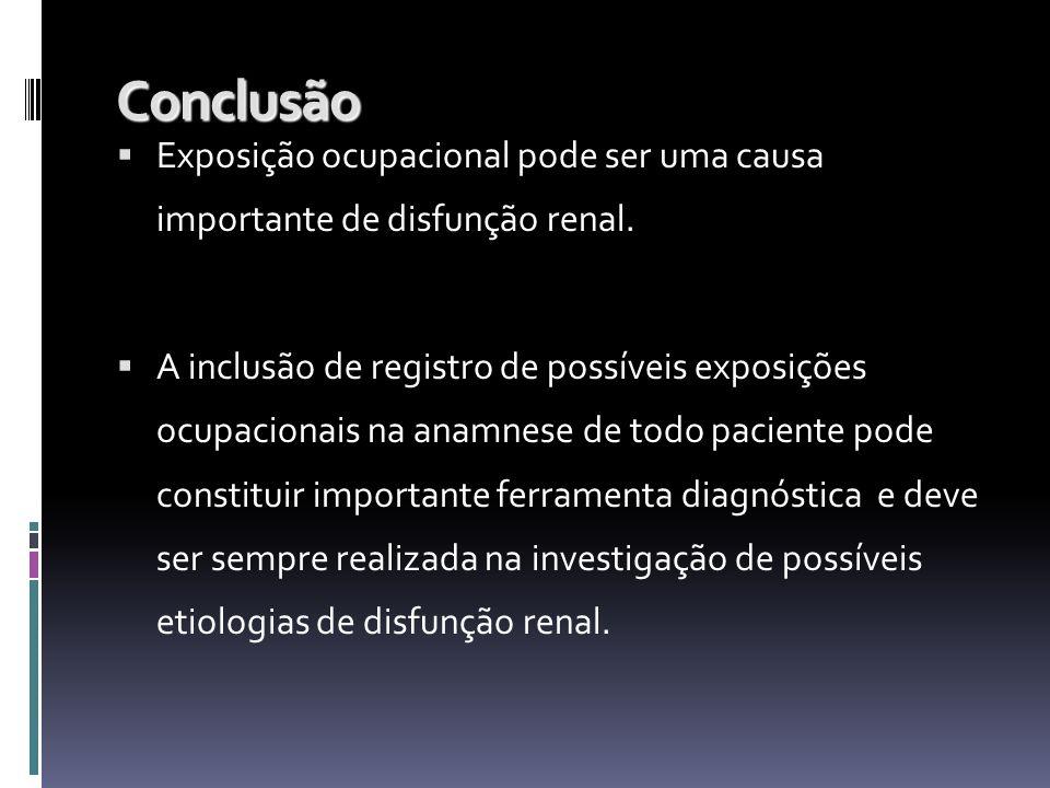 Conclusão Exposição ocupacional pode ser uma causa importante de disfunção renal.