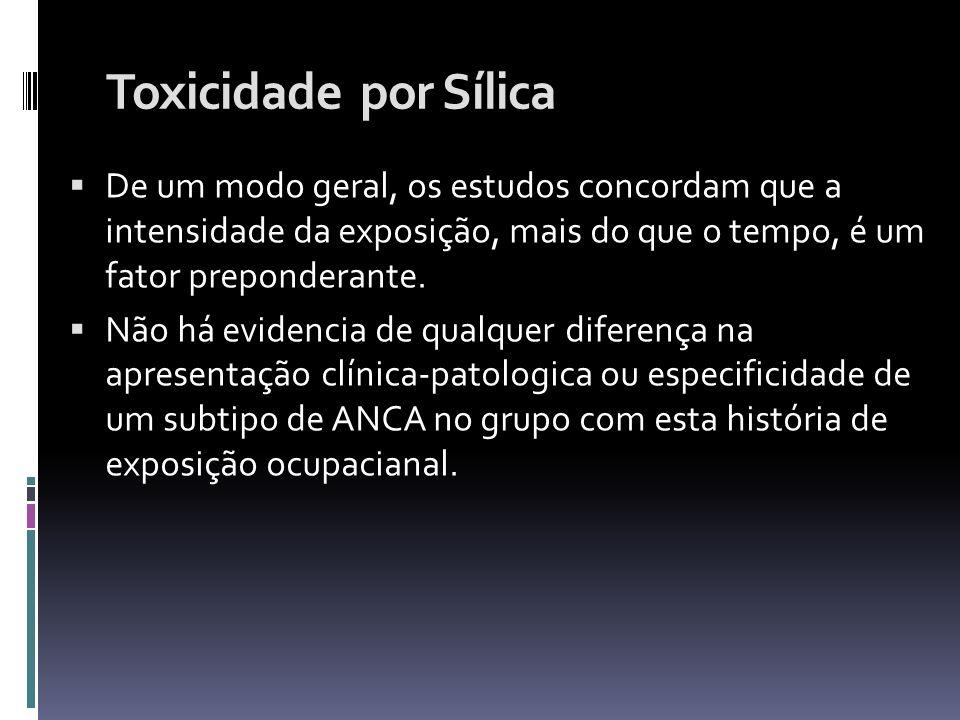 Toxicidade por Sílica De um modo geral, os estudos concordam que a intensidade da exposição, mais do que o tempo, é um fator preponderante.