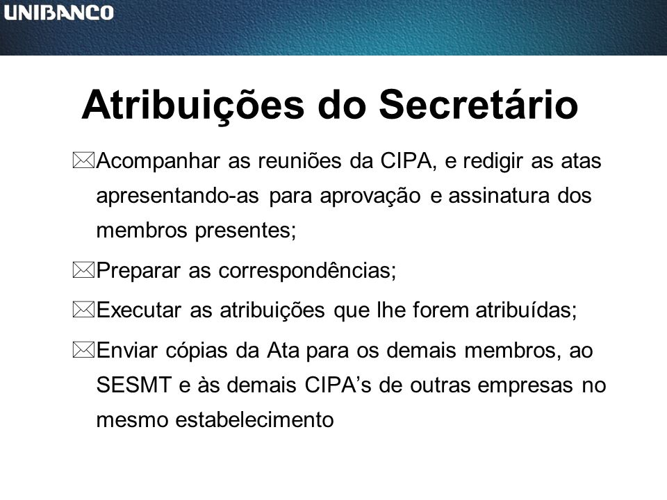 Atribuições do Secretário