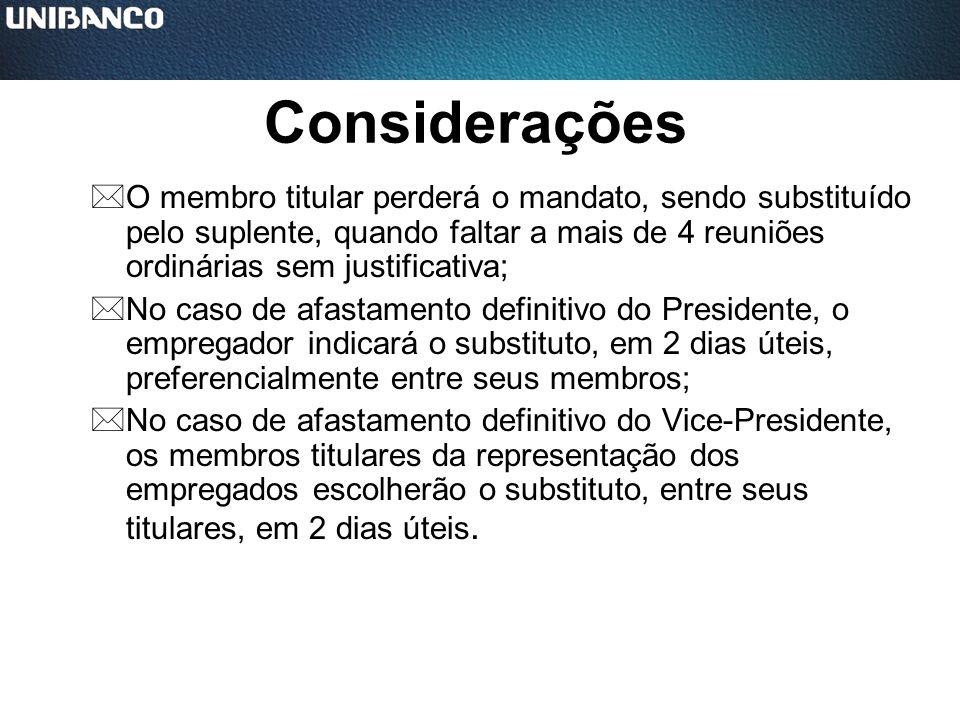 ConsideraçõesO membro titular perderá o mandato, sendo substituído pelo suplente, quando faltar a mais de 4 reuniões ordinárias sem justificativa;