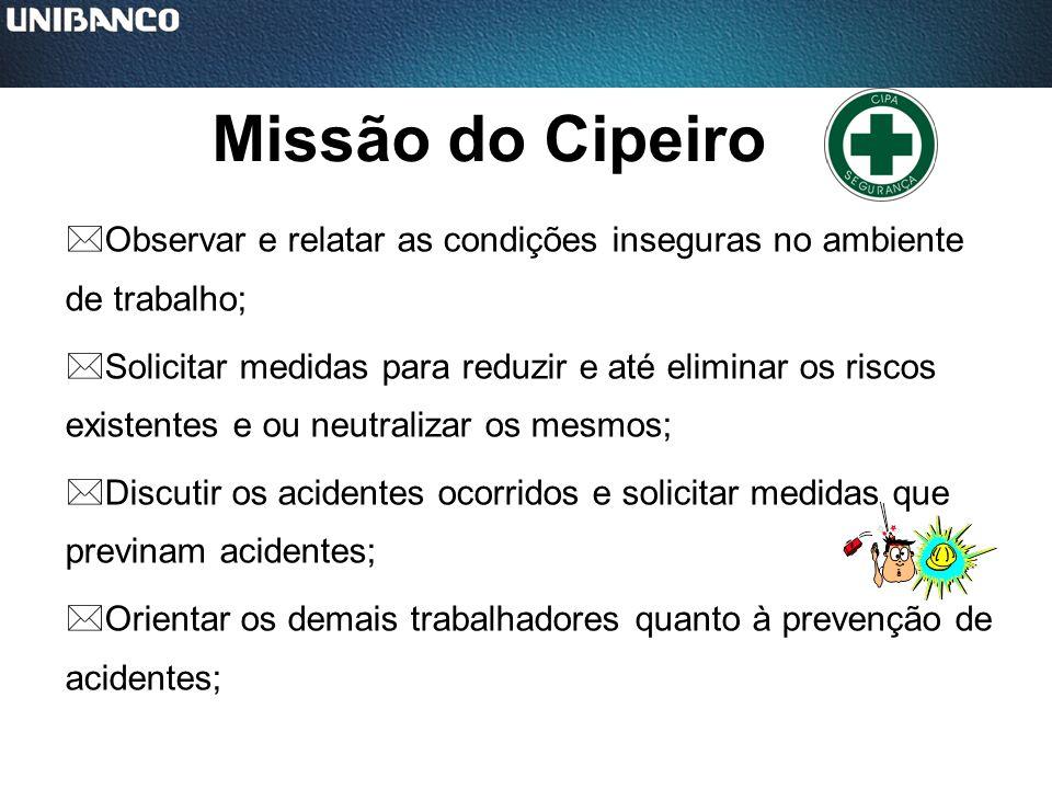 Missão do Cipeiro Observar e relatar as condições inseguras no ambiente de trabalho;
