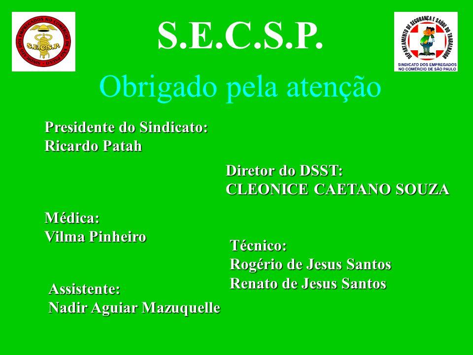 S.E.C.S.P. Obrigado pela atenção Presidente do Sindicato: