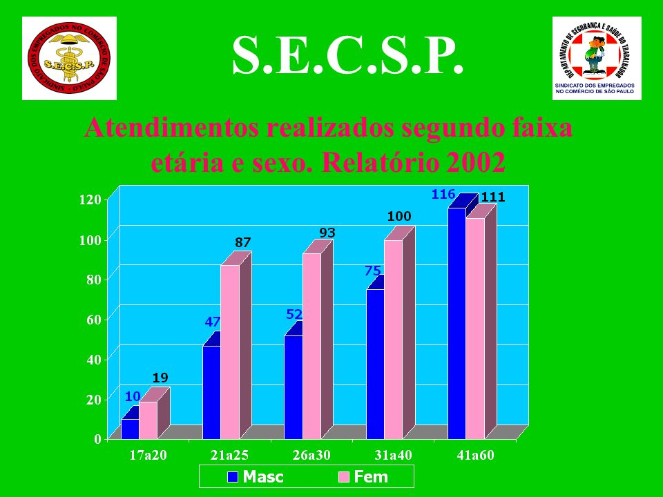 Atendimentos realizados segundo faixa etária e sexo. Relatório 2002