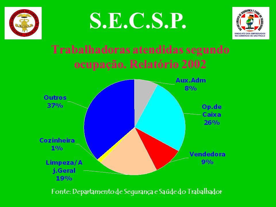 Trabalhadoras atendidas segundo ocupação. Relatório 2002