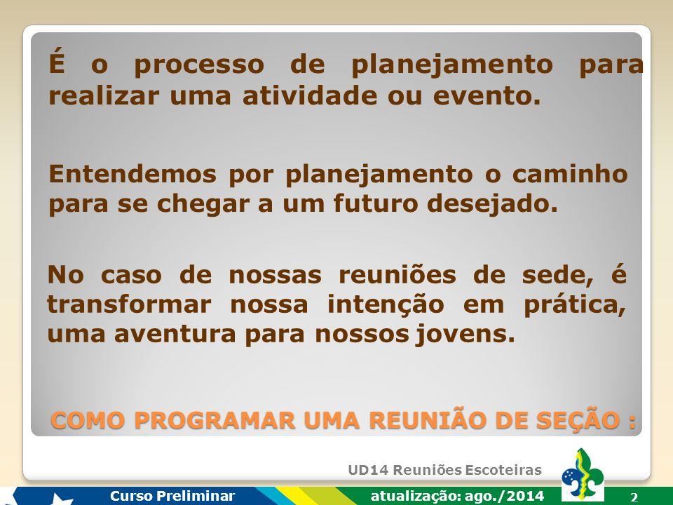 É o processo de planejamento para realizar uma atividade ou evento.