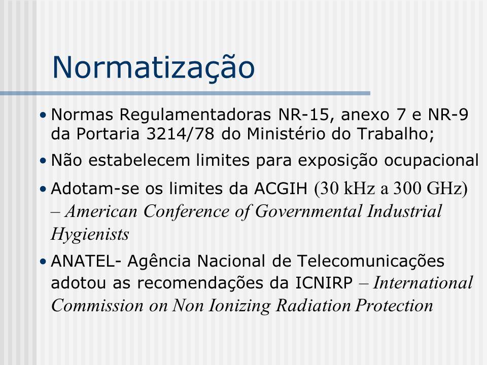 Normatização Normas Regulamentadoras NR-15, anexo 7 e NR-9 da Portaria 3214/78 do Ministério do Trabalho;