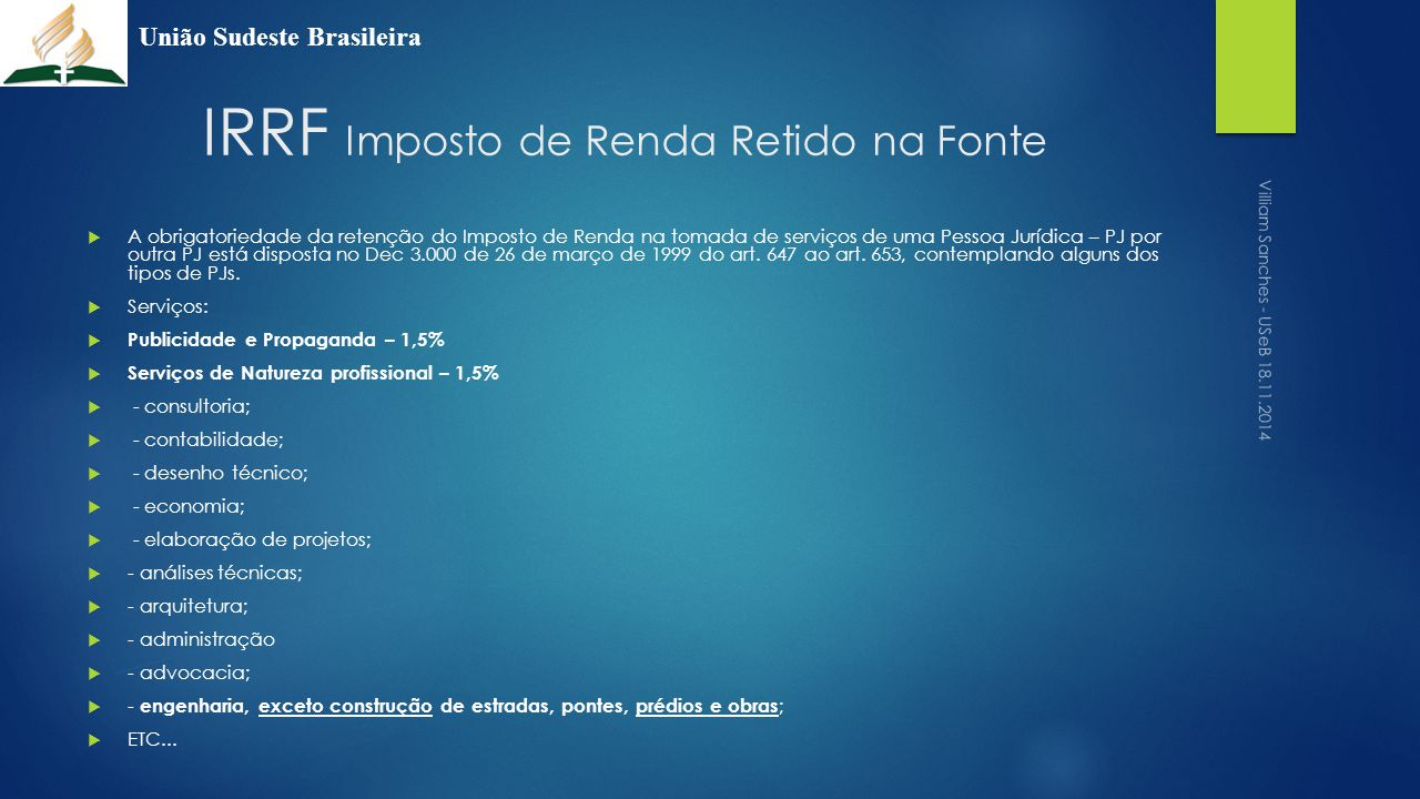 IRRF Imposto de Renda Retido na Fonte