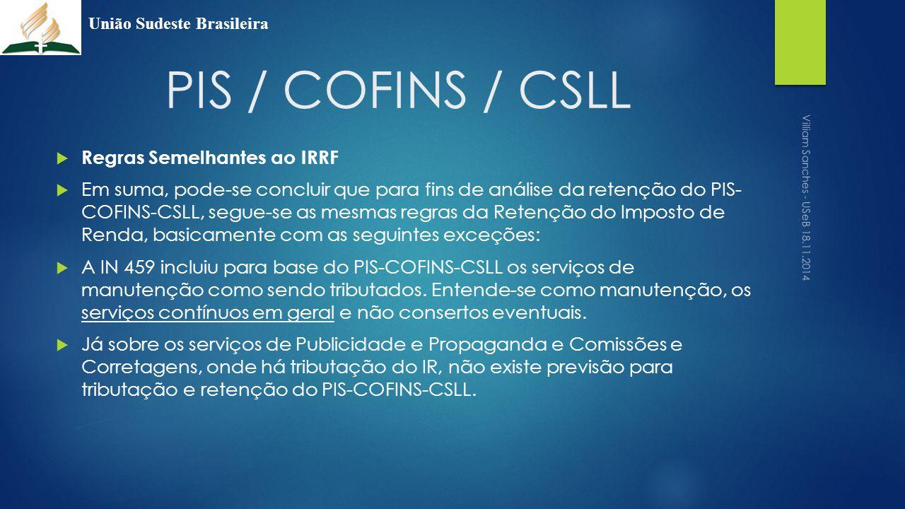 PIS / COFINS / CSLL Regras Semelhantes ao IRRF