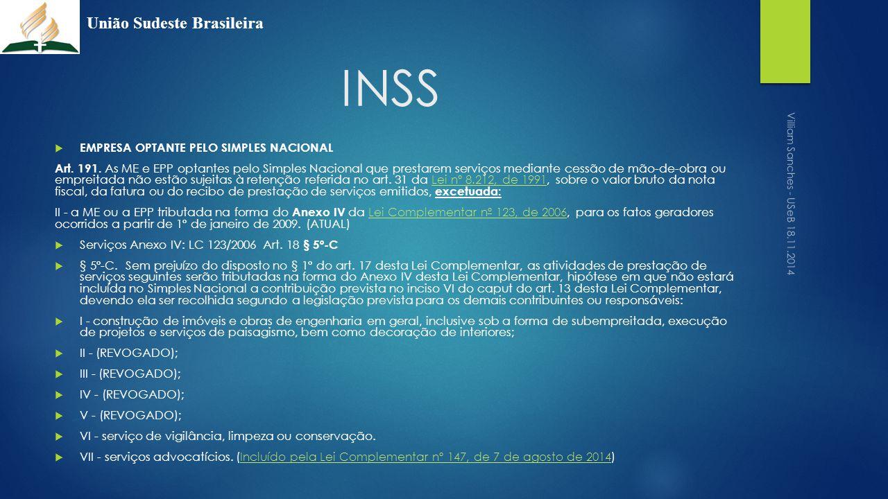 INSS União Sudeste Brasileira EMPRESA OPTANTE PELO SIMPLES NACIONAL