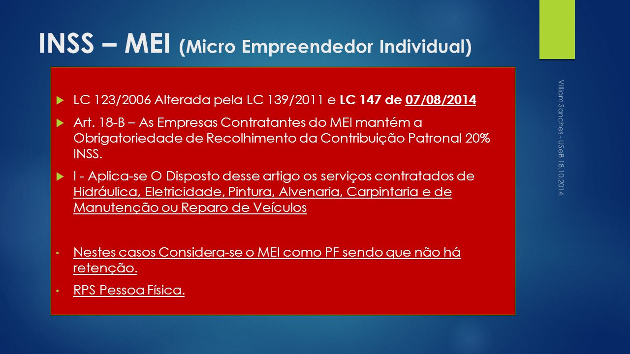 INSS – MEI (Micro Empreendedor Individual)
