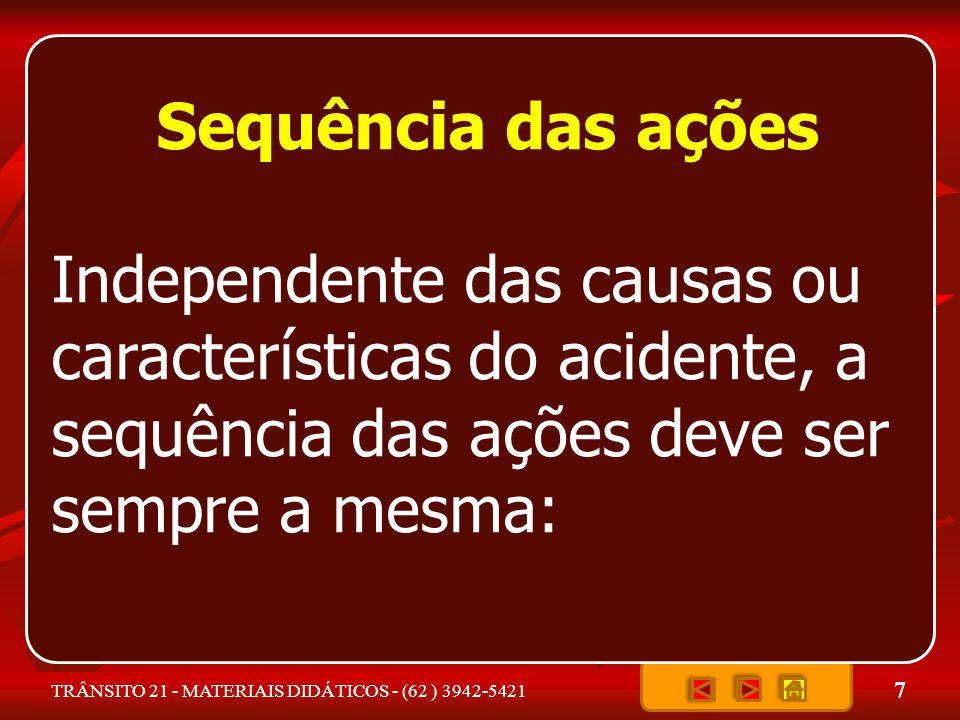 Sequência das ações Independente das causas ou características do acidente, a sequência das ações deve ser sempre a mesma: