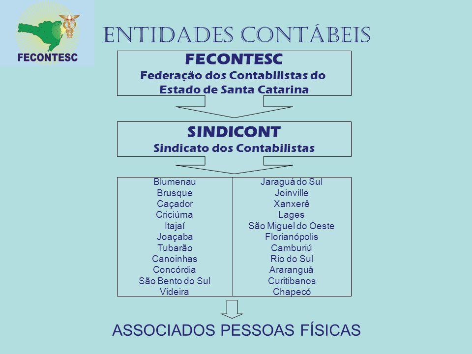 ENTIDADES CONTÁBEIS FECONTESC SINDICONT ASSOCIADOS PESSOAS FÍSICAS