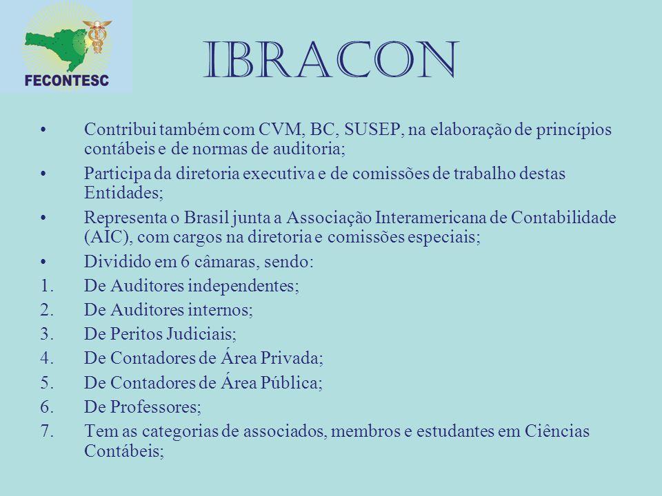 IBRACON Contribui também com CVM, BC, SUSEP, na elaboração de princípios contábeis e de normas de auditoria;