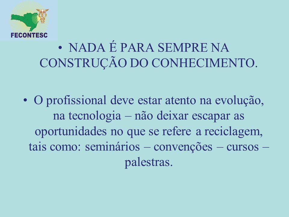 NADA É PARA SEMPRE NA CONSTRUÇÃO DO CONHECIMENTO.