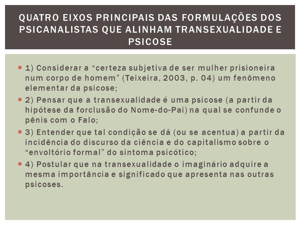 Quatro eixos principais das formulações dos psicanalistas que alinham transexualidade e psicose