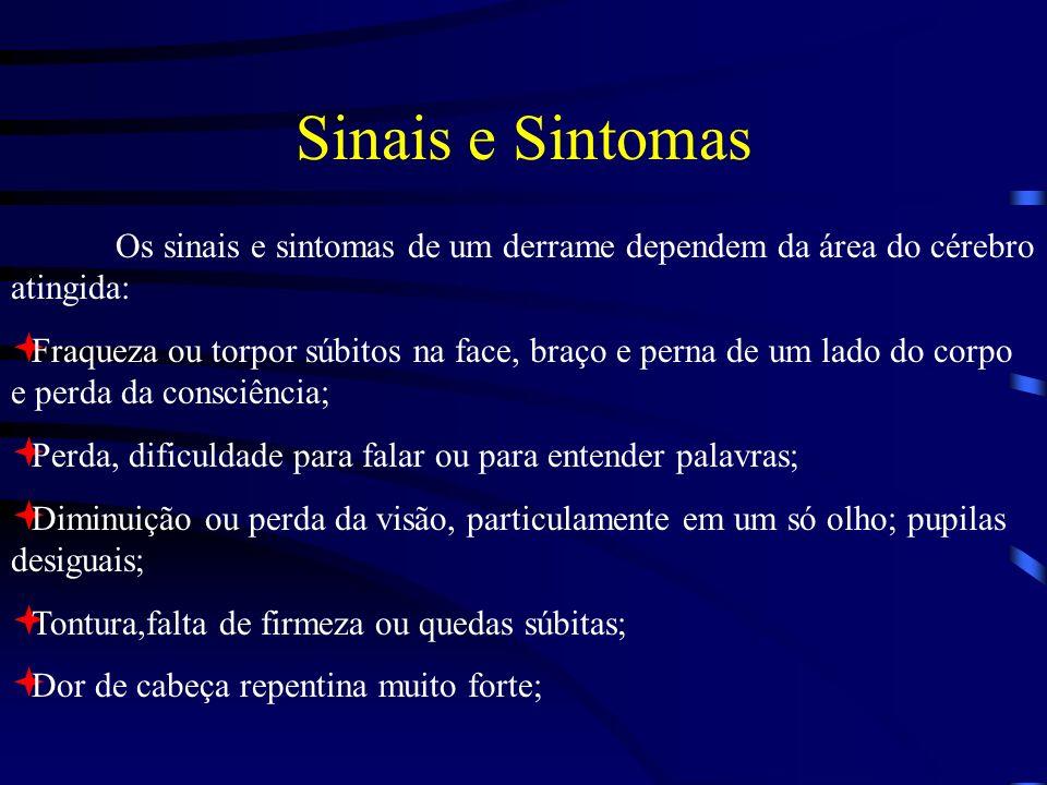 Sinais e Sintomas Os sinais e sintomas de um derrame dependem da área do cérebro atingida:
