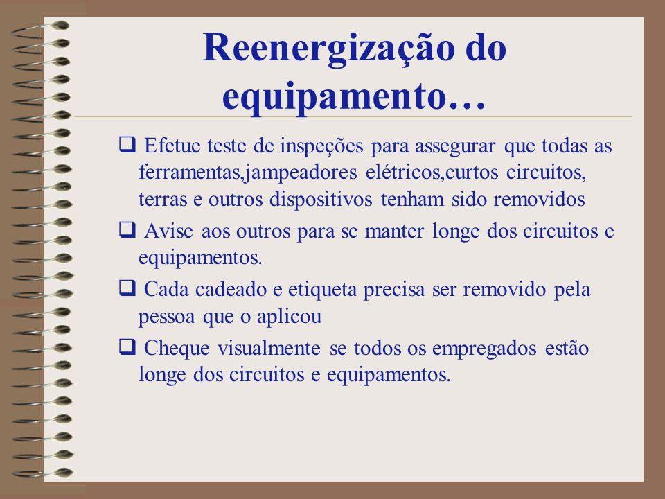 Reenergização do equipamento…