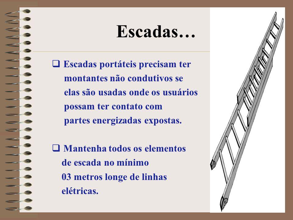 Escadas… Escadas portáteis precisam ter montantes não condutivos se