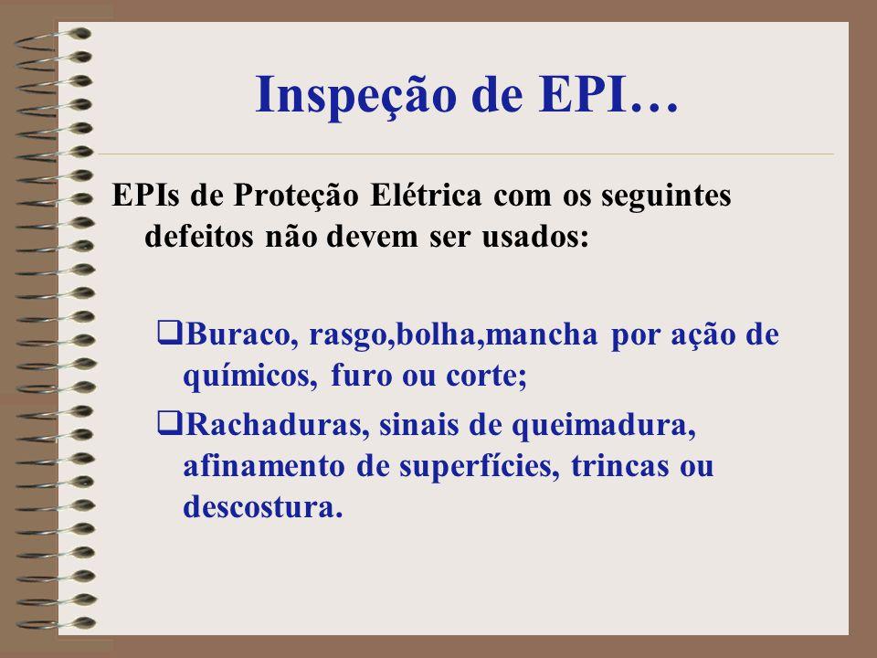 Inspeção de EPI…EPIs de Proteção Elétrica com os seguintes defeitos não devem ser usados: