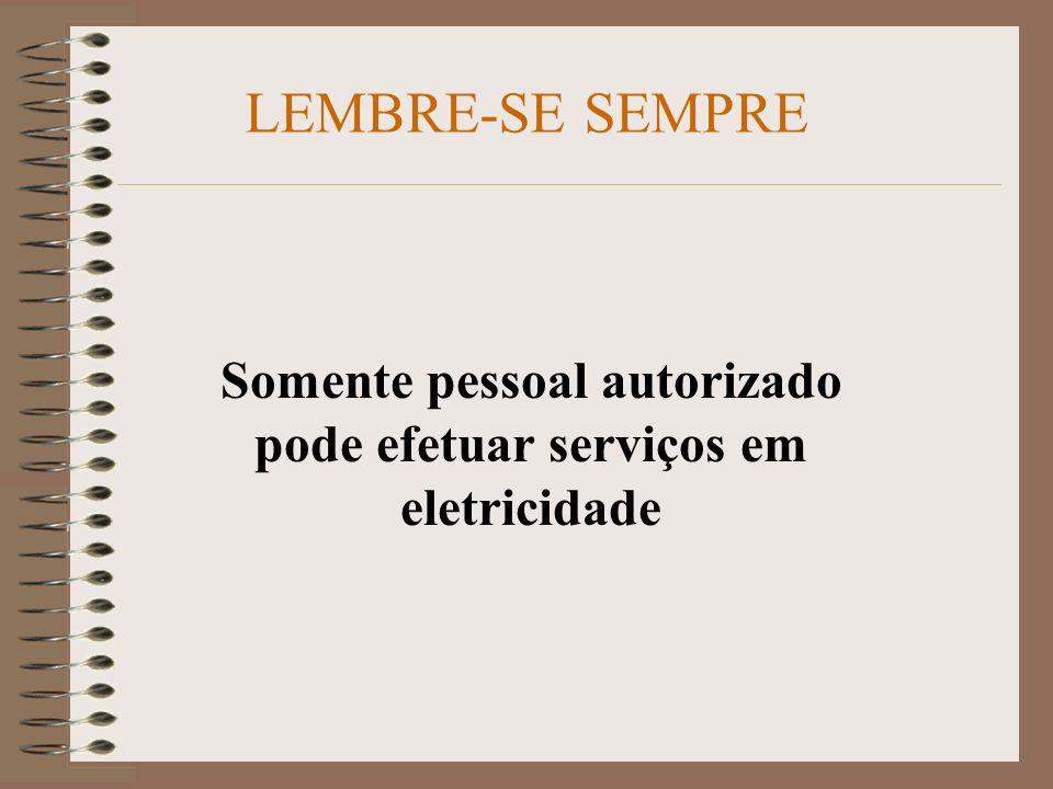 Somente pessoal autorizado pode efetuar serviços em eletricidade