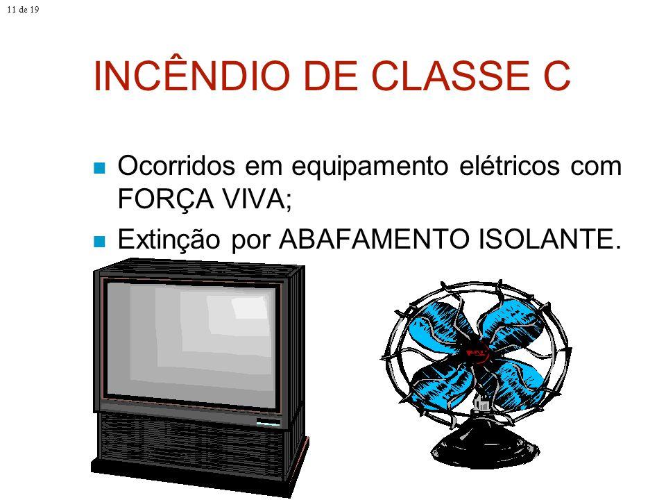 11 de 19 INCÊNDIO DE CLASSE C.