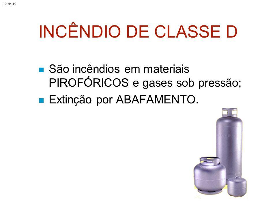 12 de 19 INCÊNDIO DE CLASSE D.