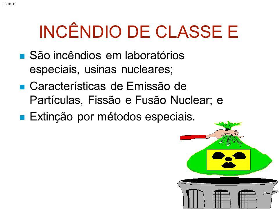 13 de 19 INCÊNDIO DE CLASSE E. São incêndios em laboratórios especiais, usinas nucleares;