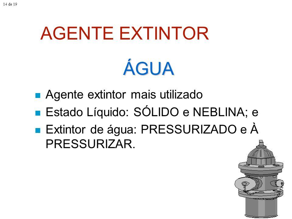 AGENTE EXTINTOR ÁGUA Agente extintor mais utilizado
