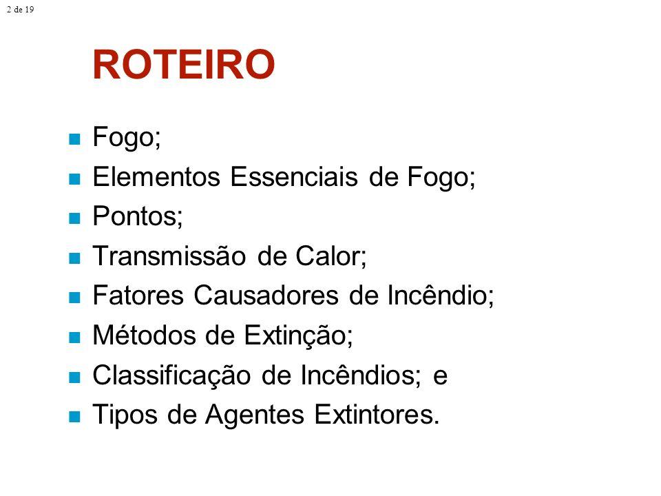 ROTEIRO Fogo; Elementos Essenciais de Fogo; Pontos;