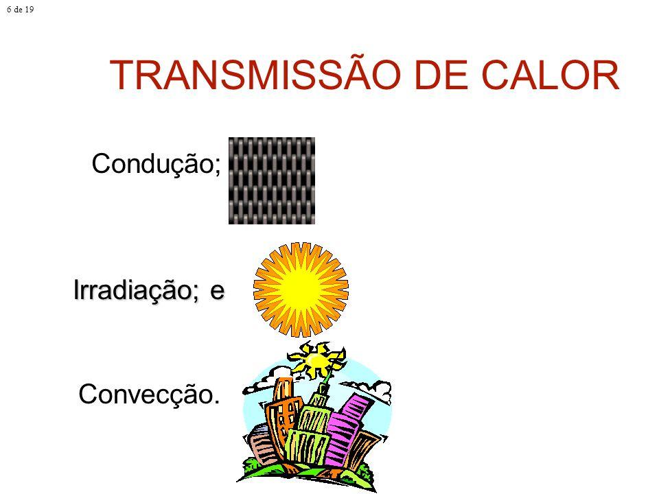 6 de 19 TRANSMISSÃO DE CALOR Condução; Irradiação; e Convecção.