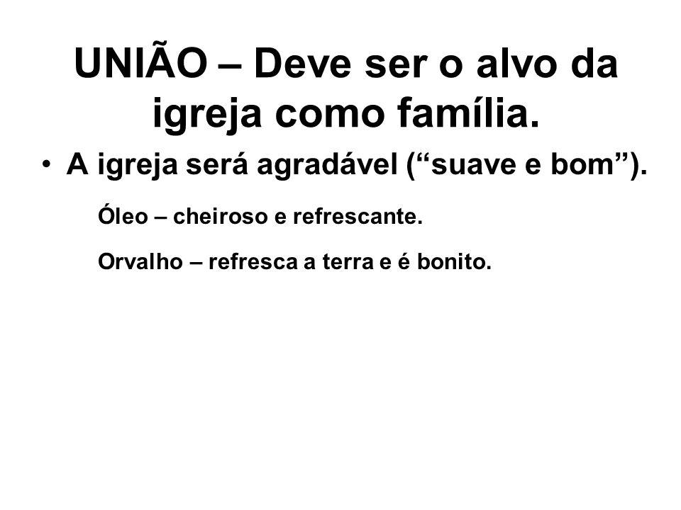 UNIÃO – Deve ser o alvo da igreja como família.