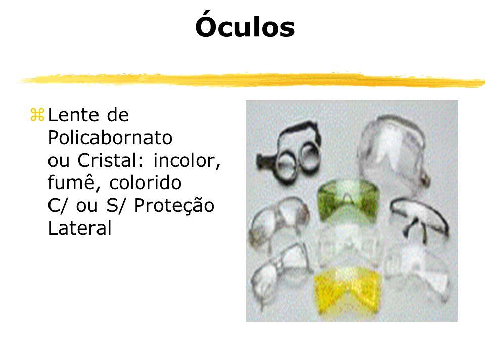 Óculos Lente de Policabornato ou Cristal: incolor, fumê, colorido C/ ou S/ Proteção Lateral.