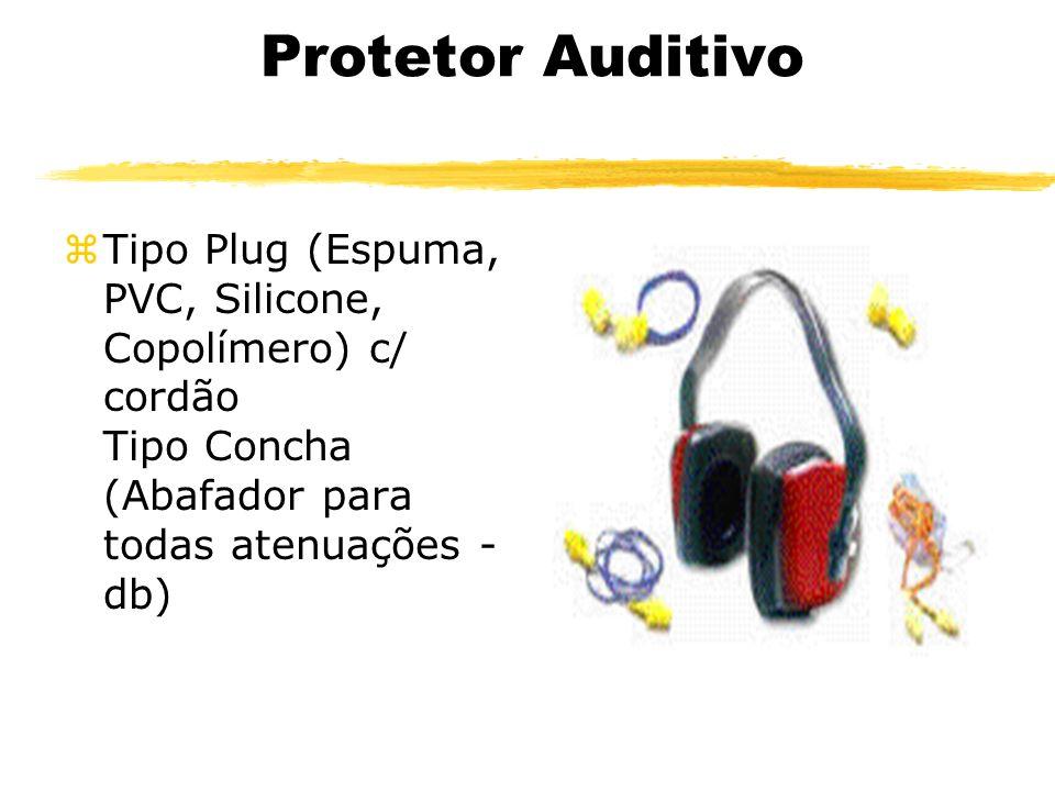 Protetor Auditivo Tipo Plug (Espuma, PVC, Silicone, Copolímero) c/ cordão Tipo Concha (Abafador para todas atenuações - db)