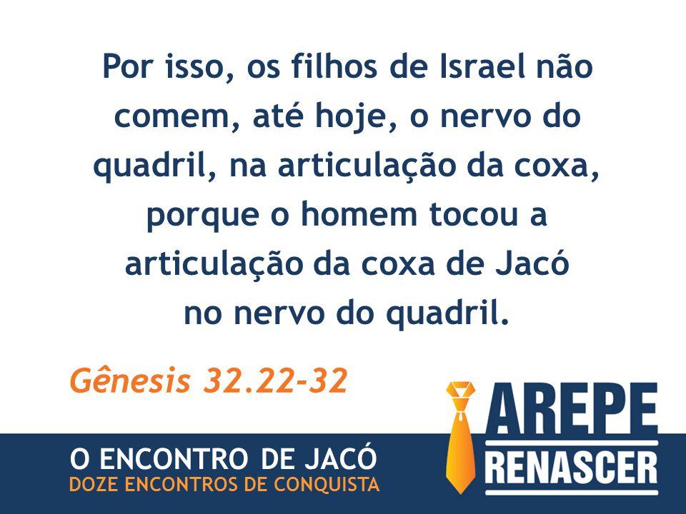 Por isso, os filhos de Israel não comem, até hoje, o nervo do quadril, na articulação da coxa, porque o homem tocou a articulação da coxa de Jacó