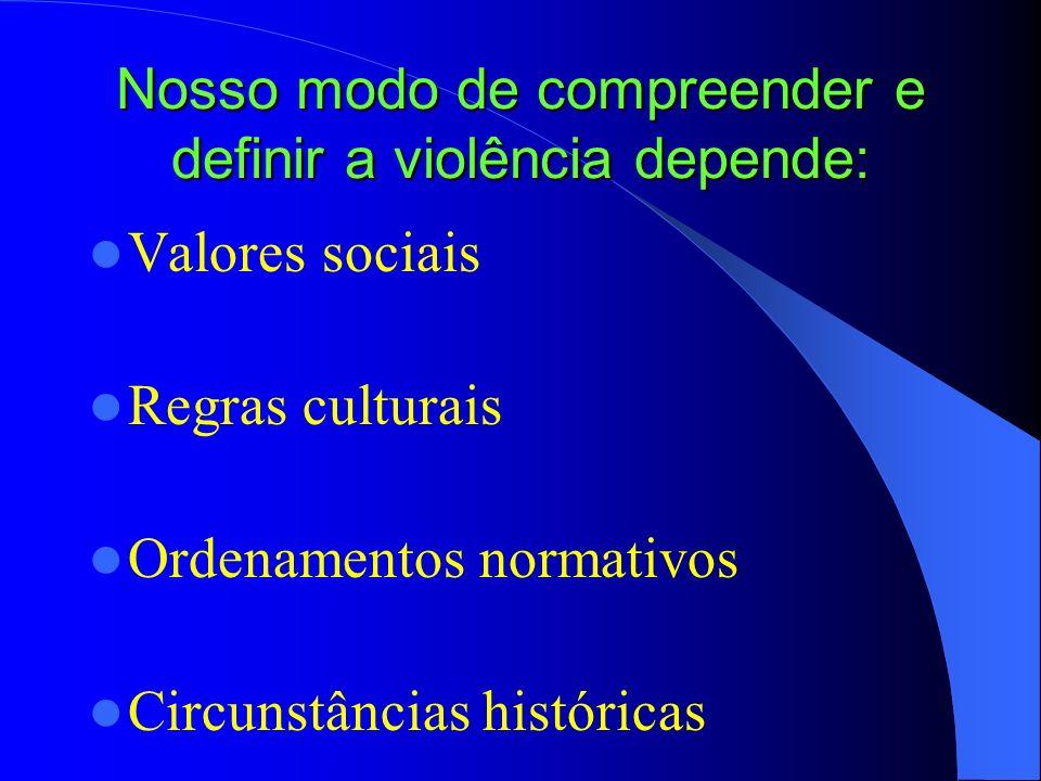 Nosso modo de compreender e definir a violência depende: