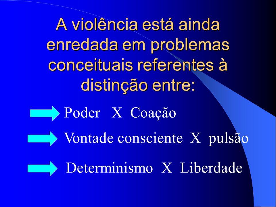 A violência está ainda enredada em problemas conceituais referentes à distinção entre: