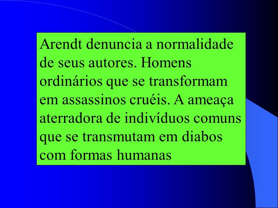 Arendt denuncia a normalidade de seus autores