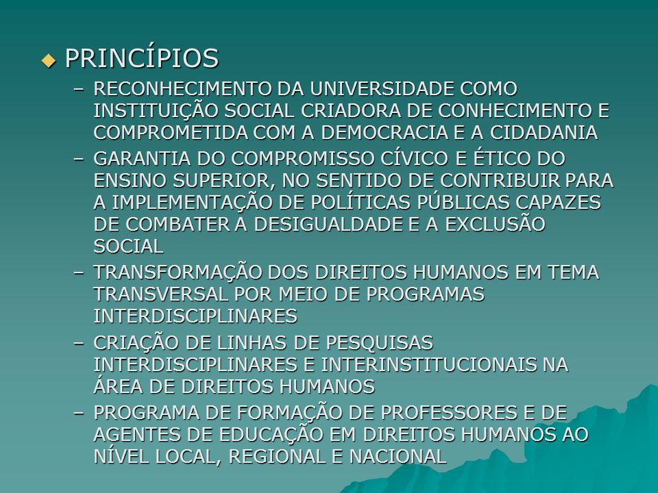 PRINCÍPIOS RECONHECIMENTO DA UNIVERSIDADE COMO INSTITUIÇÃO SOCIAL CRIADORA DE CONHECIMENTO E COMPROMETIDA COM A DEMOCRACIA E A CIDADANIA.
