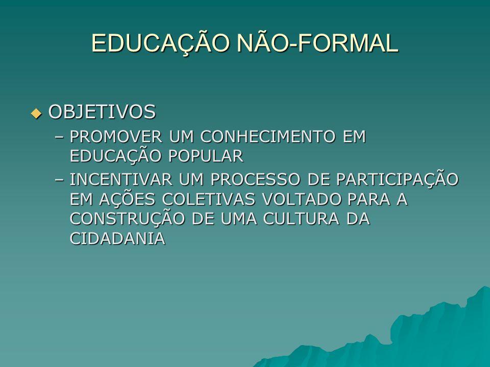 EDUCAÇÃO NÃO-FORMAL OBJETIVOS
