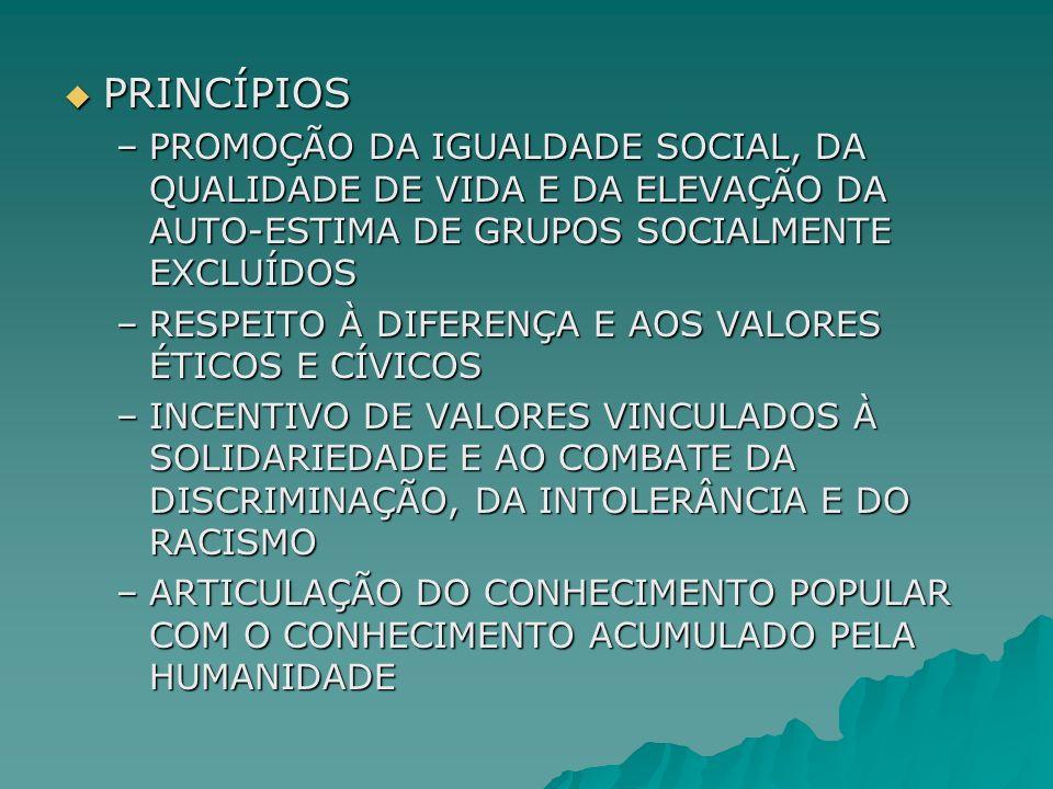 PRINCÍPIOS PROMOÇÃO DA IGUALDADE SOCIAL, DA QUALIDADE DE VIDA E DA ELEVAÇÃO DA AUTO-ESTIMA DE GRUPOS SOCIALMENTE EXCLUÍDOS.