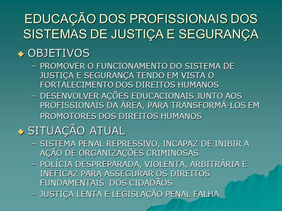 EDUCAÇÃO DOS PROFISSIONAIS DOS SISTEMAS DE JUSTIÇA E SEGURANÇA