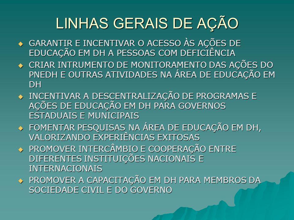 LINHAS GERAIS DE AÇÃO GARANTIR E INCENTIVAR O ACESSO ÀS AÇÕES DE EDUCAÇÃO EM DH A PESSOAS COM DEFICIÊNCIA.