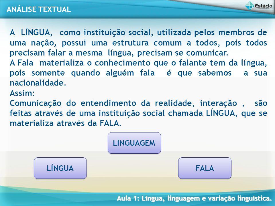A LÍNGUA, como instituição social, utilizada pelos membros de uma nação, possui uma estrutura comum a todos, pois todos precisam falar a mesma língua, precisam se comunicar.