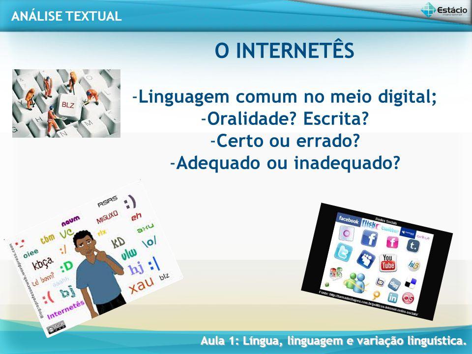 Linguagem comum no meio digital; Adequado ou inadequado