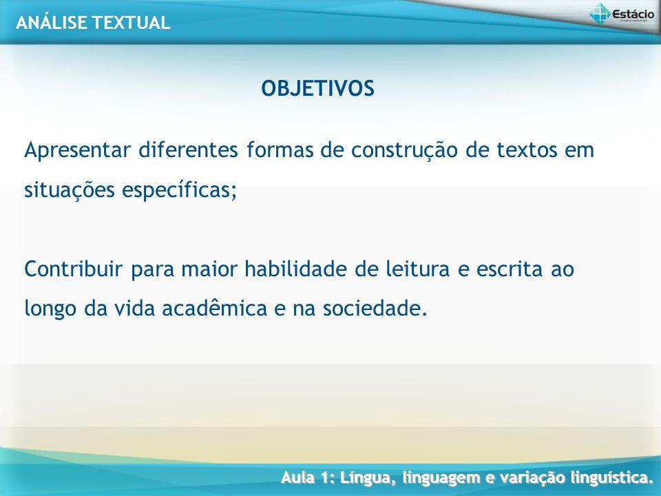 OBJETIVOS Apresentar diferentes formas de construção de textos em situações específicas;