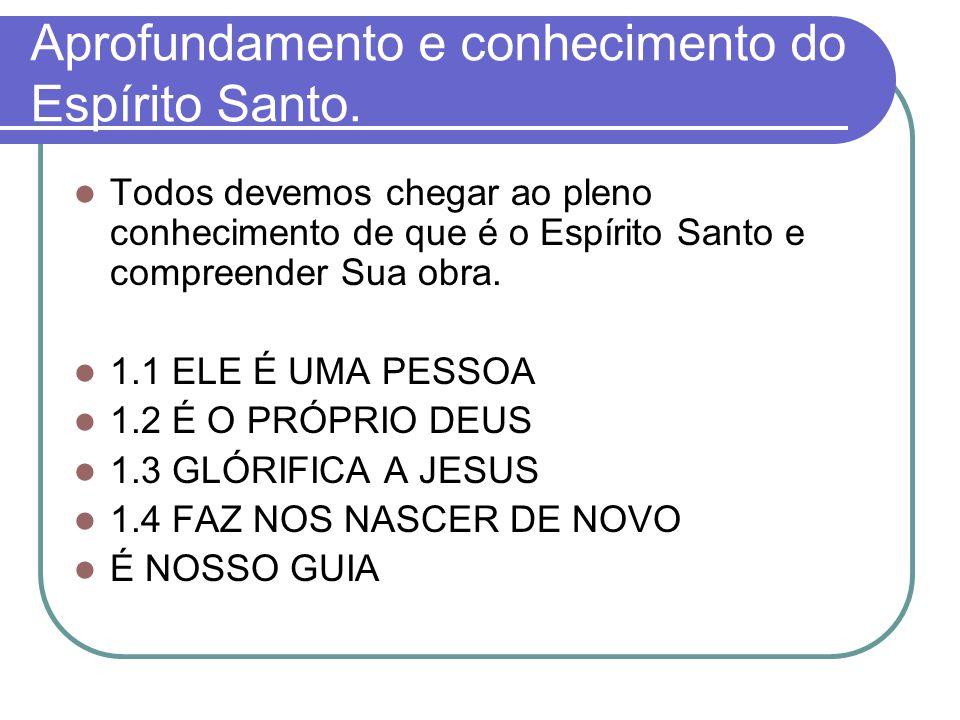 Aprofundamento e conhecimento do Espírito Santo.