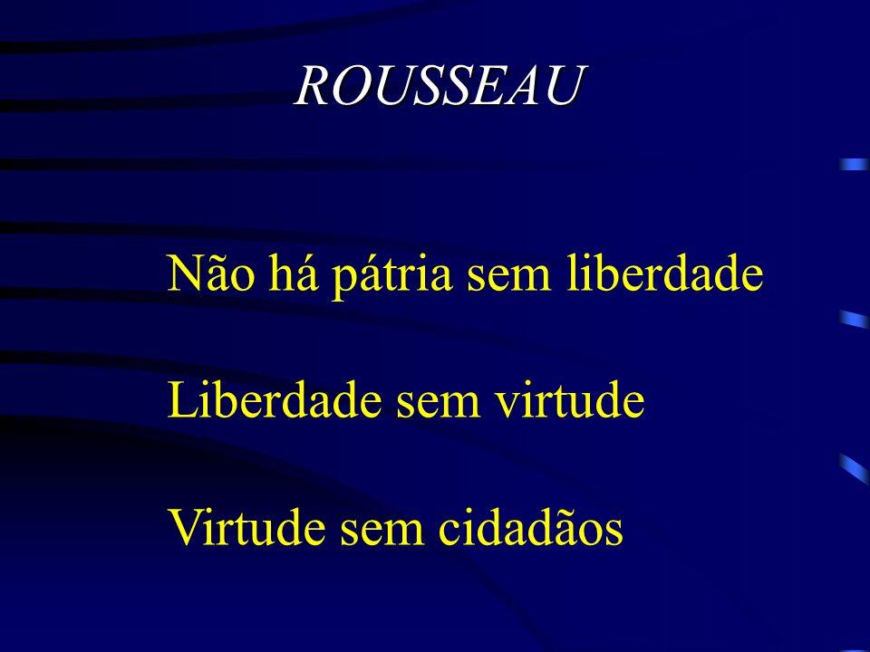 ROUSSEAU Não há pátria sem liberdade Liberdade sem virtude