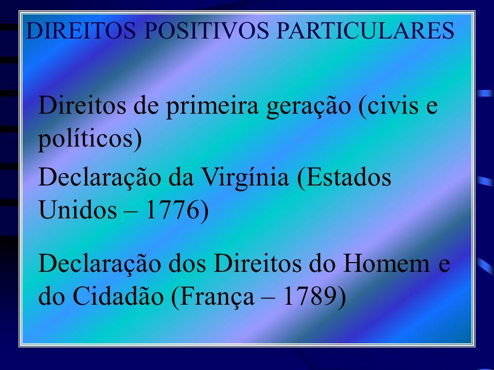 Direitos de primeira geração (civis e políticos)