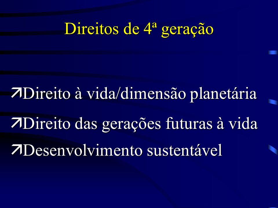 Direitos de 4ª geração Direito à vida/dimensão planetária.